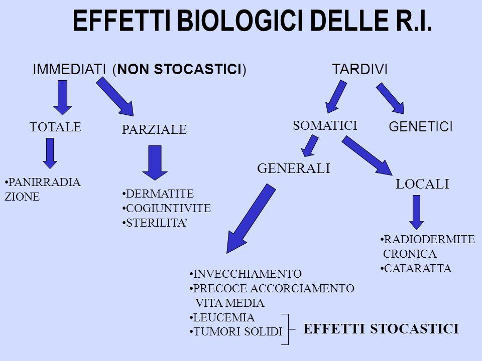 IMMEDIATI (NON STOCASTICI)TARDIVI TOTALE GENETICI PARZIALE EFFETTI BIOLOGICI DELLE R.I.