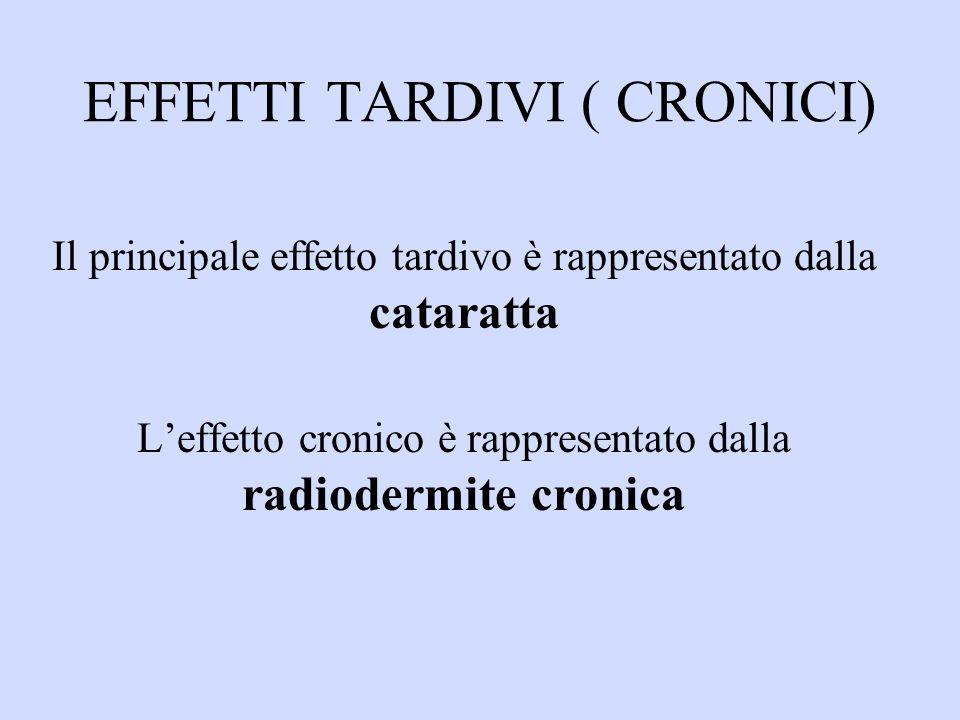 EFFETTI TARDIVI ( CRONICI) Il principale effetto tardivo è rappresentato dalla cataratta Leffetto cronico è rappresentato dalla radiodermite cronica