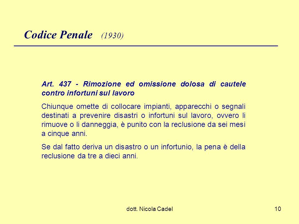 dott. Nicola Cadel10 Codice Penale (1930) Art. 437 - Rimozione ed omissione dolosa di cautele contro infortuni sul lavoro Chiunque omette di collocare