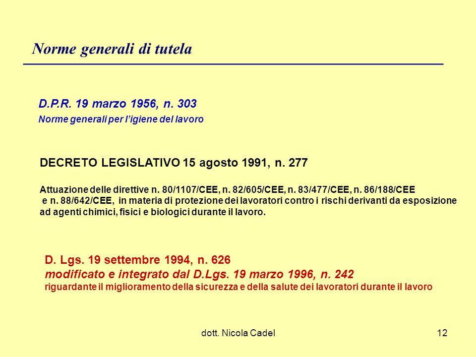 dott. Nicola Cadel12 Norme generali di tutela D.P.R. 19 marzo 1956, n. 303 Norme generali per ligiene del lavoro DECRETO LEGISLATIVO 15 agosto 1991, n