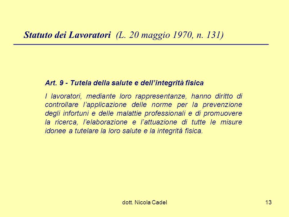 dott. Nicola Cadel13 Statuto dei Lavoratori (L. 20 maggio 1970, n. 131) Art. 9 - Tutela della salute e dellintegrità fisica I lavoratori, mediante lor