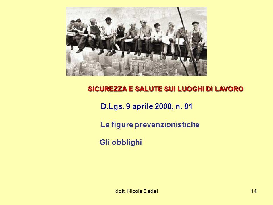 dott. Nicola Cadel14 SICUREZZA E SALUTE SUI LUOGHI DI LAVORO D.Lgs. 9 aprile 2008, n. 81 Le figure prevenzionistiche Gli obblighi