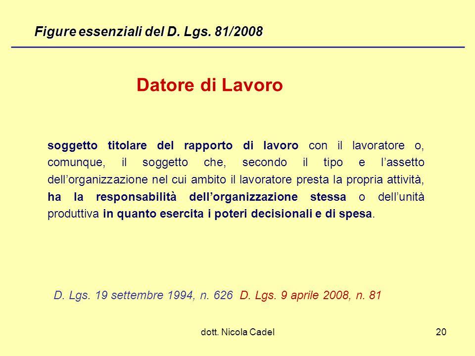 dott. Nicola Cadel20 D. Lgs. 19 settembre 1994, n. 626 D. Lgs. 9 aprile 2008, n. 81 soggetto titolare del rapporto di lavoro con il lavoratore o, comu
