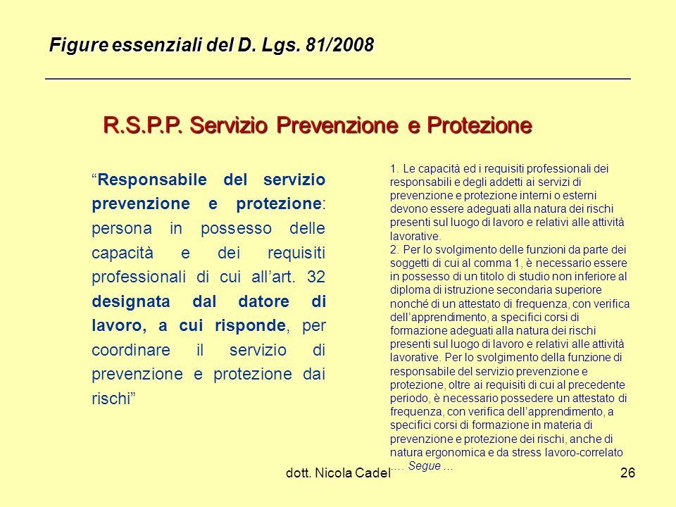 dott. Nicola Cadel26 R.S.P.P. Servizio Prevenzione e Protezione Responsabile del servizio prevenzione e protezione: persona in possesso delle capacità