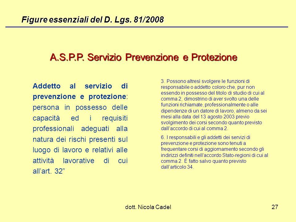 dott. Nicola Cadel27 A.S.P.P. Servizio Prevenzione e Protezione Addetto al servizio di prevenzione e protezione: persona in possesso delle capacità ed