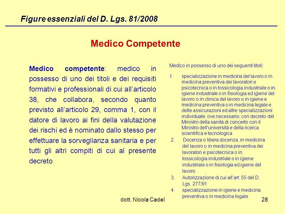 dott. Nicola Cadel28 Medico Competente Medico in possesso di uno dei seguenti titoli: 1. specializzazione in medicina del lavoro o in medicina prevent