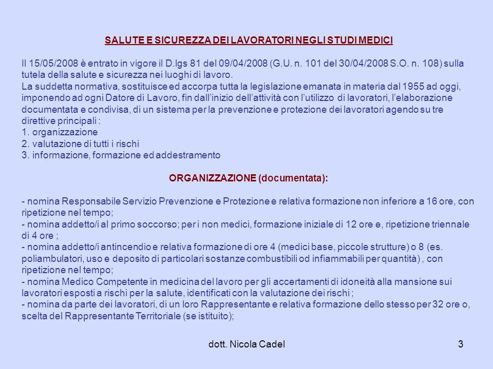 dott. Nicola Cadel3 SALUTE E SICUREZZA DEI LAVORATORI NEGLI STUDI MEDICI Il 15/05/2008 è entrato in vigore il D.lgs 81 del 09/04/2008 (G.U. n. 101 del