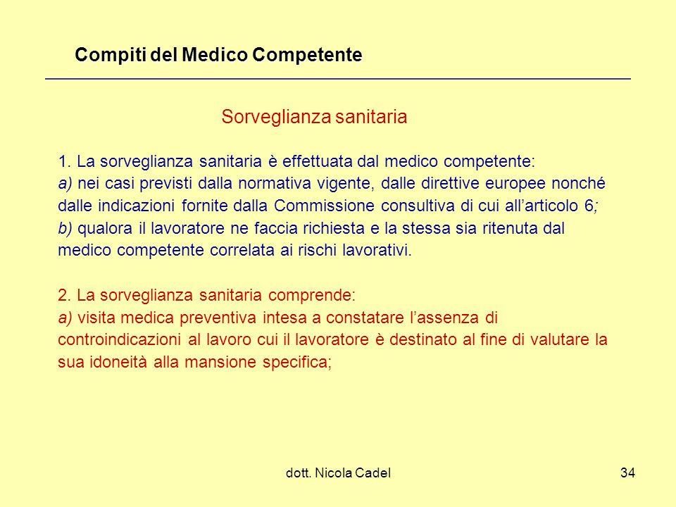 dott. Nicola Cadel34 1. La sorveglianza sanitaria è effettuata dal medico competente: a) nei casi previsti dalla normativa vigente, dalle direttive eu