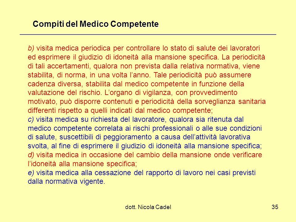 dott. Nicola Cadel35 b) visita medica periodica per controllare lo stato di salute dei lavoratori ed esprimere il giudizio di idoneità alla mansione s