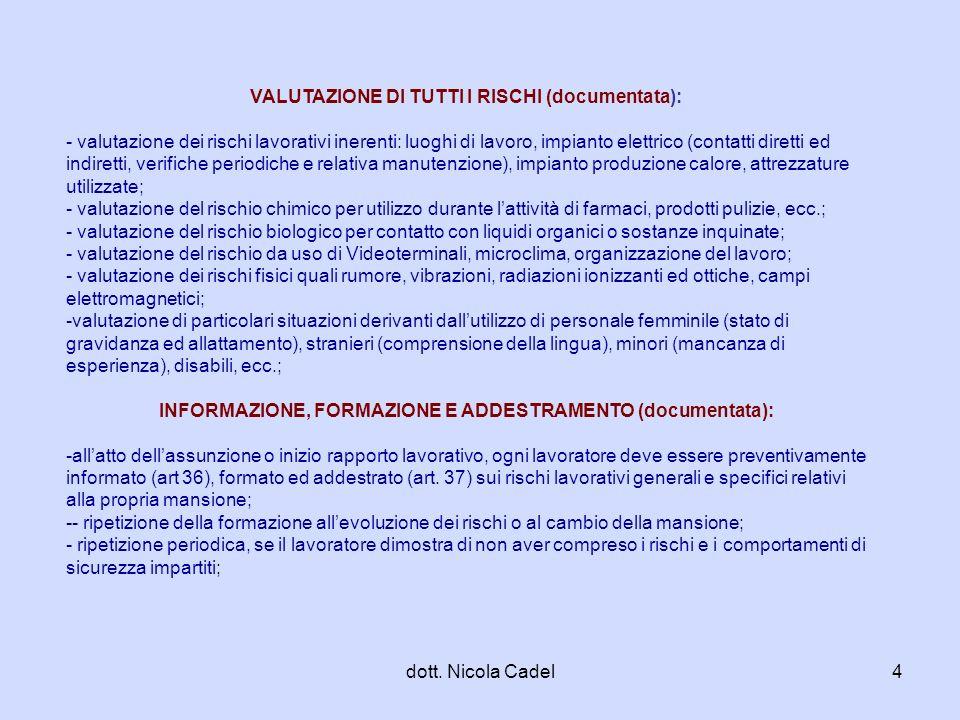 dott. Nicola Cadel4 VALUTAZIONE DI TUTTI I RISCHI (documentata): - valutazione dei rischi lavorativi inerenti: luoghi di lavoro, impianto elettrico (c