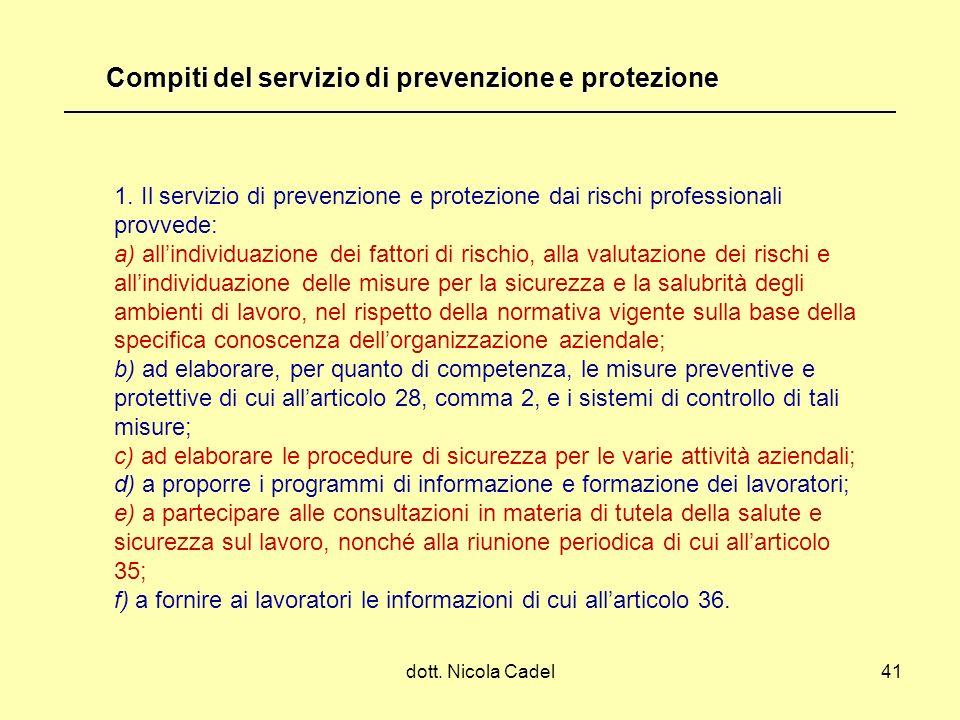 dott. Nicola Cadel41 1. Il servizio di prevenzione e protezione dai rischi professionali provvede: a) allindividuazione dei fattori di rischio, alla v