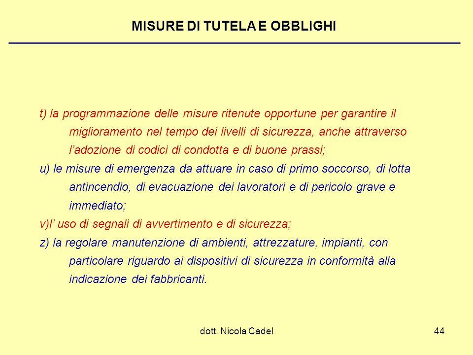 dott. Nicola Cadel44 MISURE DI TUTELA E OBBLIGHI t) la programmazione delle misure ritenute opportune per garantire il miglioramento nel tempo dei liv