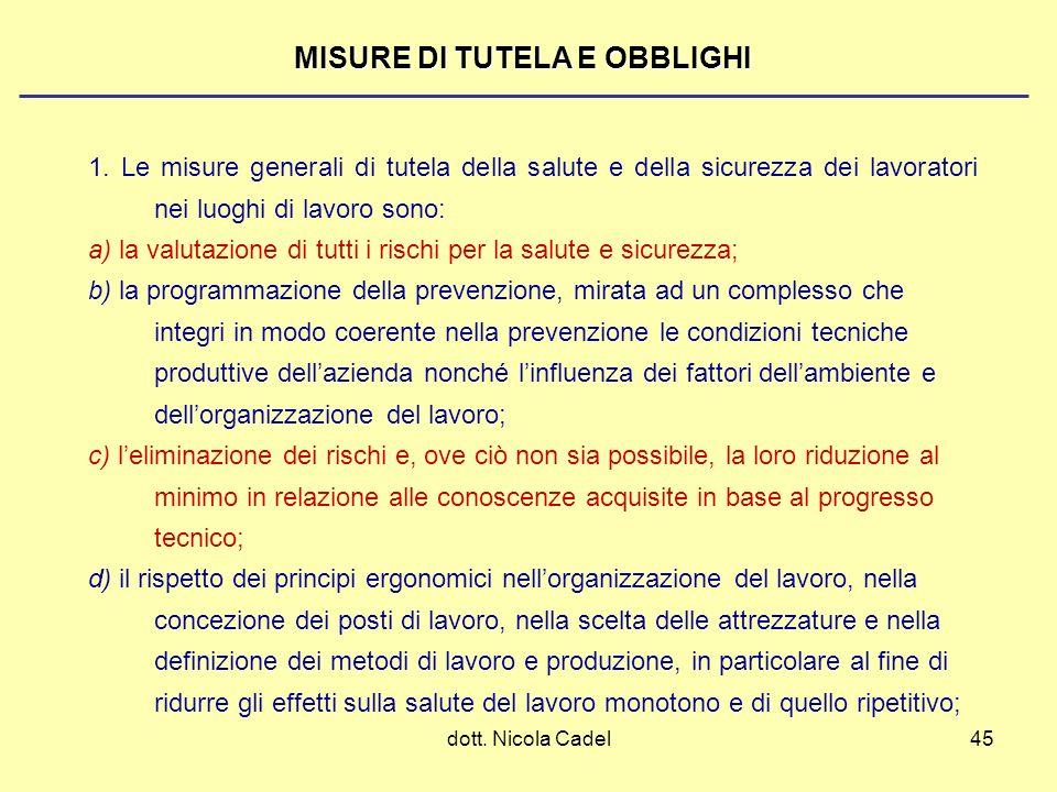 dott. Nicola Cadel45 MISURE DI TUTELA E OBBLIGHI 1. Le misure generali di tutela della salute e della sicurezza dei lavoratori nei luoghi di lavoro so