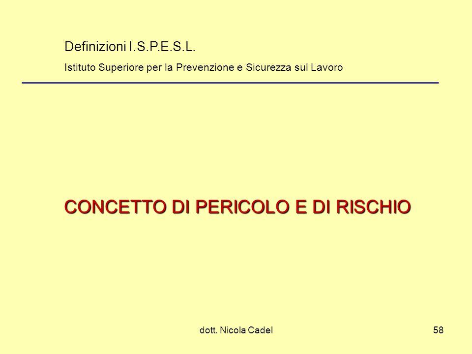 dott. Nicola Cadel58 CONCETTO DI PERICOLO E DI RISCHIO Definizioni I.S.P.E.S.L. Istituto Superiore per la Prevenzione e Sicurezza sul Lavoro