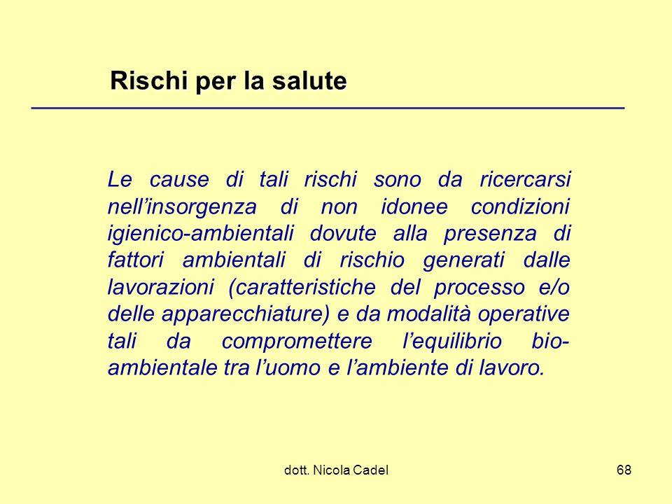dott. Nicola Cadel68 Rischi per la salute Le cause di tali rischi sono da ricercarsi nellinsorgenza di non idonee condizioni igienico-ambientali dovut