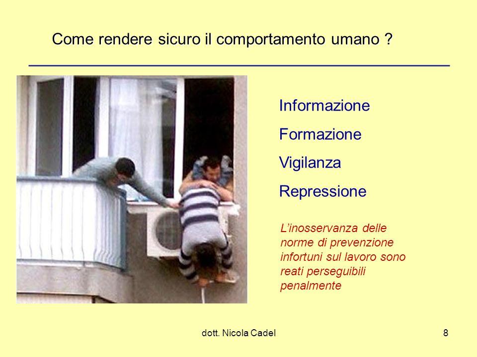 dott. Nicola Cadel8 Informazione Formazione Vigilanza Repressione Come rendere sicuro il comportamento umano ? Linosservanza delle norme di prevenzion