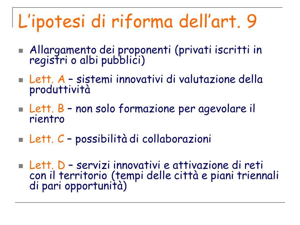 Lipotesi di riforma dellart. 9 Allargamento dei proponenti (privati iscritti in registri o albi pubblici) Lett. A – sistemi innovativi di valutazione