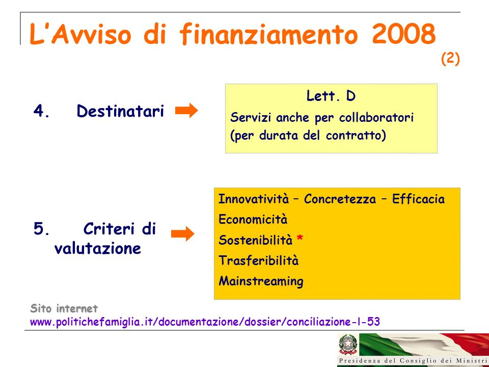 LAvviso di finanziamento 2008 (2) 4.Destinatari 5. Criteri di valutazione Sito internet www.politichefamiglia.it/documentazione/dossier/conciliazione-