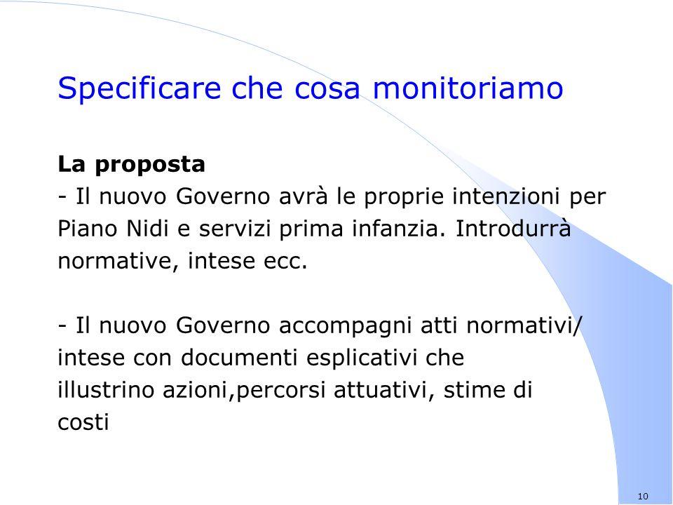 10 Specificare che cosa monitoriamo La proposta - Il nuovo Governo avrà le proprie intenzioni per Piano Nidi e servizi prima infanzia.