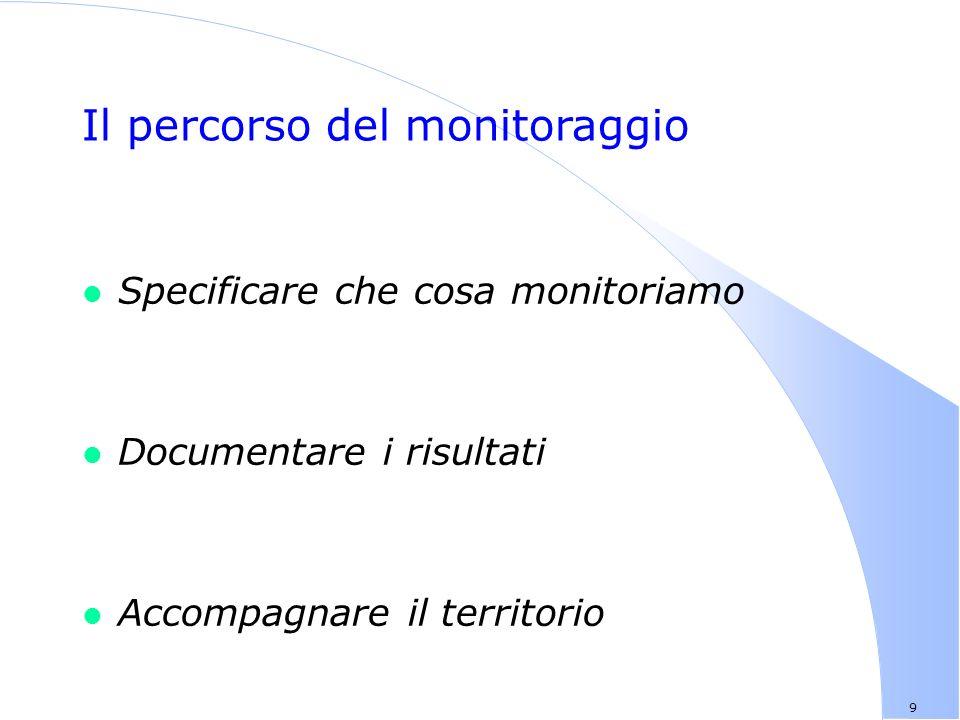 9 Il percorso del monitoraggio l Specificare che cosa monitoriamo l Documentare i risultati l Accompagnare il territorio