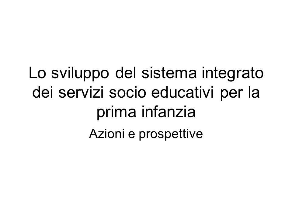 Lo sviluppo del sistema integrato dei servizi socio educativi per la prima infanzia Azioni e prospettive