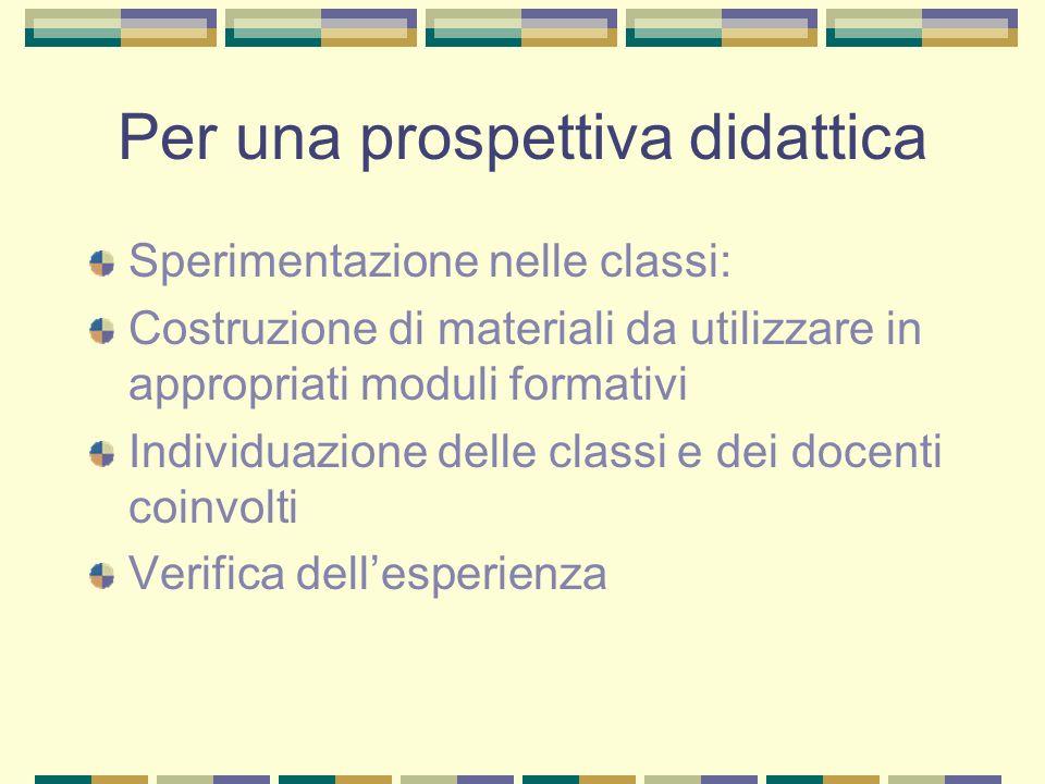 Per una prospettiva didattica Sperimentazione nelle classi: Costruzione di materiali da utilizzare in appropriati moduli formativi Individuazione delle classi e dei docenti coinvolti Verifica dellesperienza