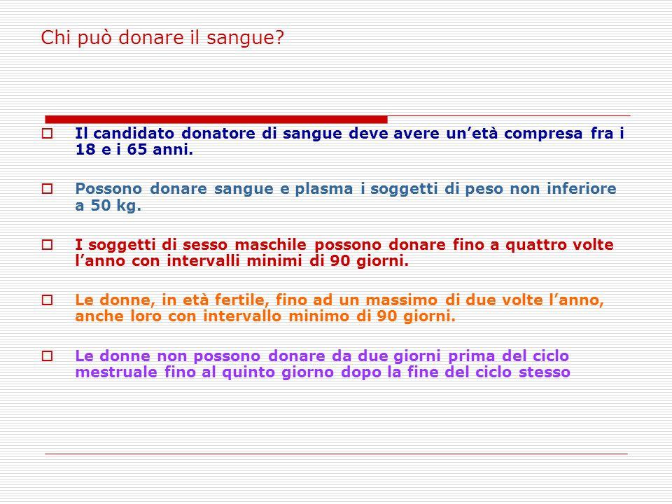 Chi può donare il sangue.