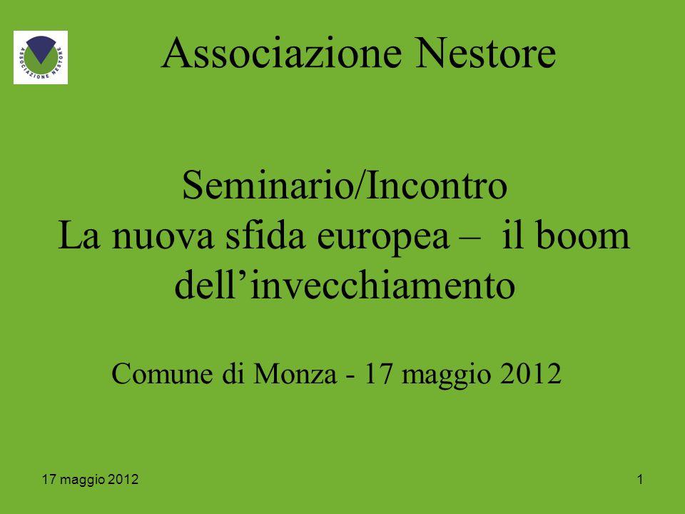 117 maggio 2012 Associazione Nestore Seminario/Incontro La nuova sfida europea – il boom dellinvecchiamento Comune di Monza - 17 maggio 2012
