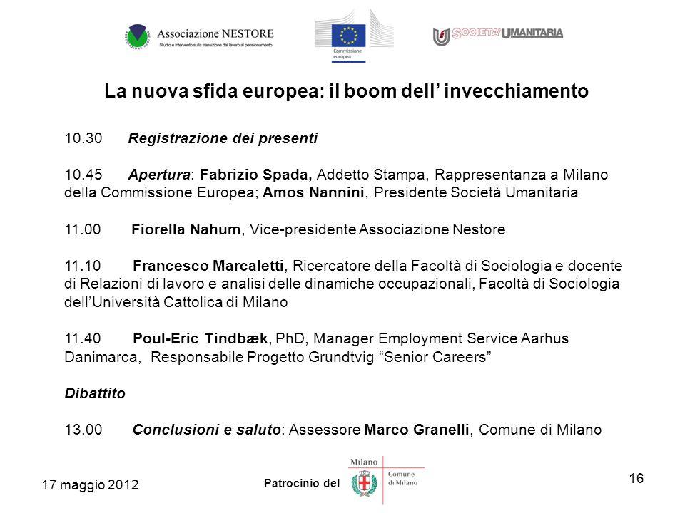 16 Patrocinio del 10.30 Registrazione dei presenti 10.45 Apertura: Fabrizio Spada, Addetto Stampa, Rappresentanza a Milano della Commissione Europea;