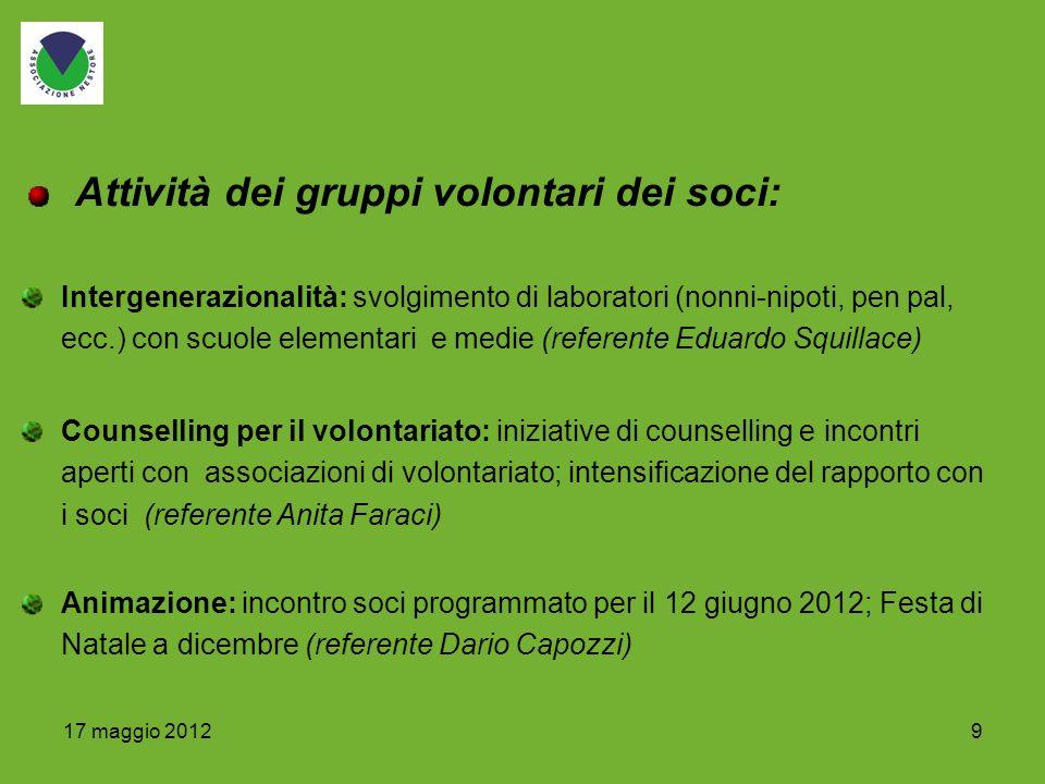 917 maggio 2012 Intergenerazionalità: svolgimento di laboratori (nonni-nipoti, pen pal, ecc.) con scuole elementari e medie (referente Eduardo Squilla