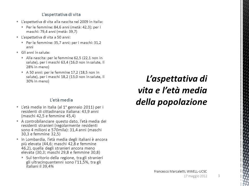 Laspettativa di vita Laspettativa di vita alla nascita nel 2009 in Italia: Per le femmine: 84,6 anni (metà: 42,3); per i maschi: 79,4 anni (metà: 39,7) Laspettativa di vita a 50 anni: Per le femmine: 35,7 anni; per i maschi: 31,2 anni Gli anni in salute: Alla nascita: per le femmine 62,5 (22,1 non in salute), per i maschi 63,4 (16,0 non in salute, il 28% in meno) A 50 anni: per le femmine 17,2 (18,5 non in salute), per i maschi 18,2 (13,0 non in salute, il 30% in meno) Letà media Letà media in Italia (al 1° gennaio 2011) per i residenti di cittadinanza italiana: 43,9 anni (maschi 42,5 e femmine 45,4) A controbilanciare questo dato, letà media dei residenti stranieri (regolarmente residenti sono 4 milioni e 570mila): 31,4 anni (maschi 30,3 e femmine 32,5) In Lombardia, letà media degli italiani è ancora più elevata (44,6; maschi 42,8 e femmine 46,2), quella degli stranieri ancora meno elevata (30,3; maschi 29,8 e femmine 30,8) Sul territorio della regione, tra gli stranieri gli ultracinquantenni sono l11,5%, tra gli italiani il 39,4% 17 maggio 2012 3 Francesco Marcaletti, WWELL-UCSC