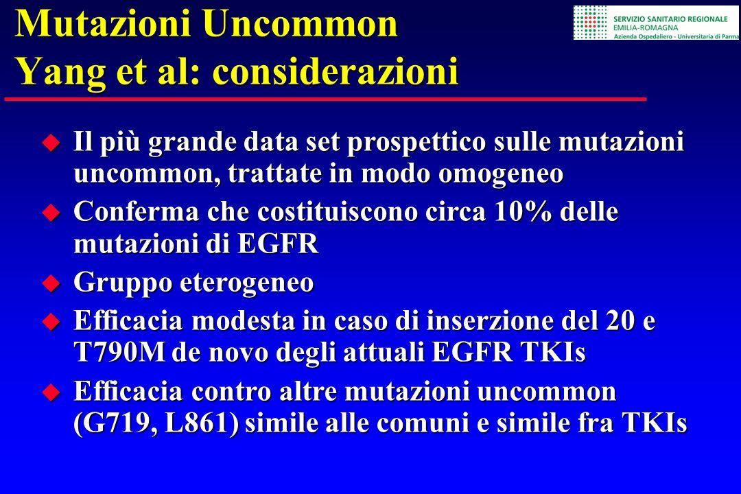 Mutazioni Uncommon Yang et al: considerazioni Il più grande data set prospettico sulle mutazioni uncommon, trattate in modo omogeneo Il più grande dat