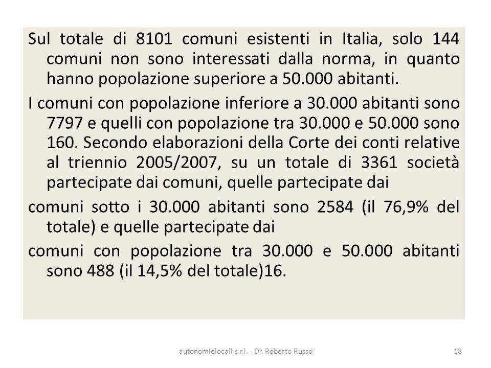 Sul totale di 8101 comuni esistenti in Italia, solo 144 comuni non sono interessati dalla norma, in quanto hanno popolazione superiore a 50.000 abitan