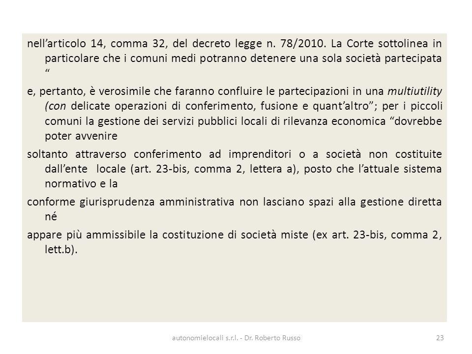 nellarticolo 14, comma 32, del decreto legge n. 78/2010.