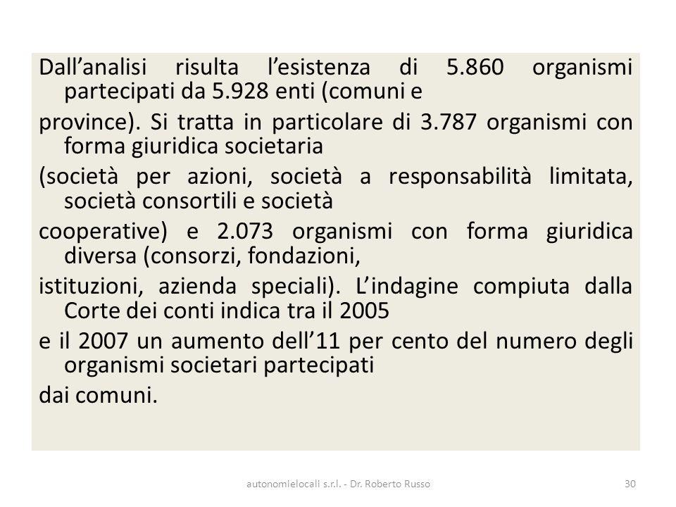 Dallanalisi risulta lesistenza di 5.860 organismi partecipati da 5.928 enti (comuni e province). Si tratta in particolare di 3.787 organismi con forma