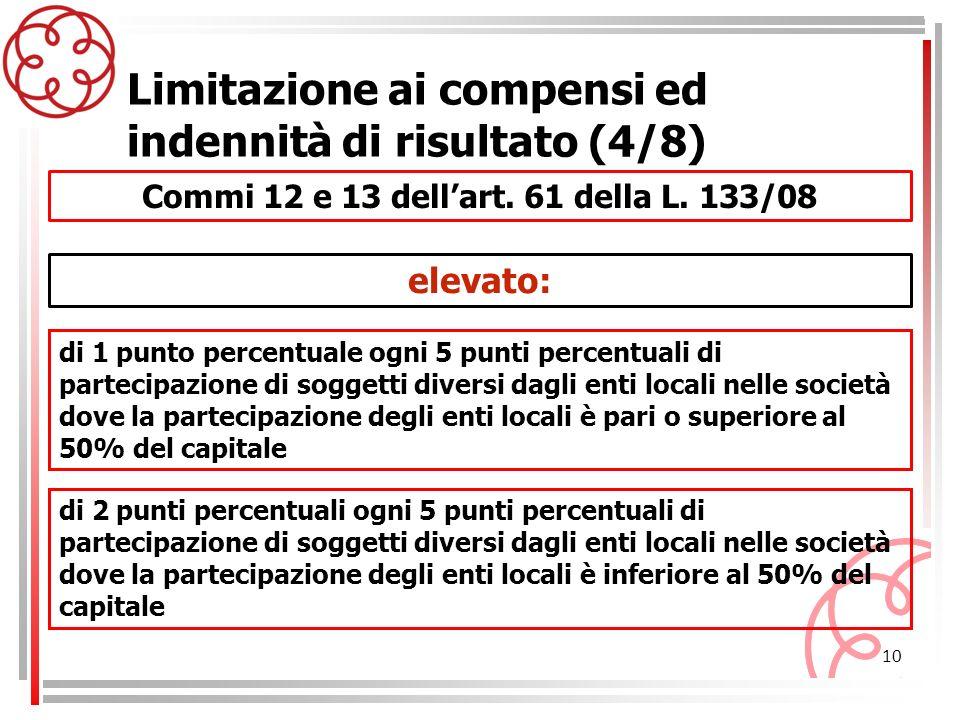 10 Commi 12 e 13 dellart. 61 della L. 133/08 Limitazione ai compensi ed indennità di risultato (4/8) di 1 punto percentuale ogni 5 punti percentuali d