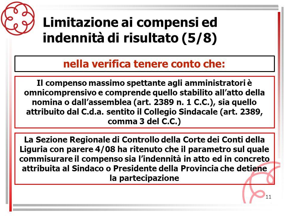 11 Limitazione ai compensi ed indennità di risultato (5/8) Il compenso massimo spettante agli amministratori è omnicomprensivo e comprende quello stab