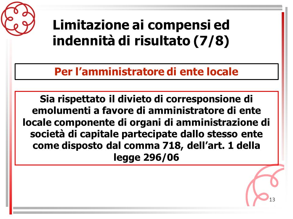 13 Limitazione ai compensi ed indennità di risultato (7/8) Sia rispettato il divieto di corresponsione di emolumenti a favore di amministratore di ent