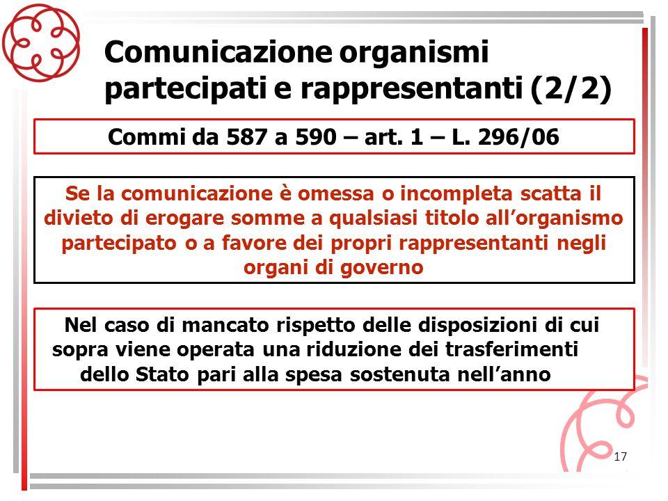 17 Commi da 587 a 590 – art. 1 – L. 296/06 Comunicazione organismi partecipati e rappresentanti (2/2) Se la comunicazione è omessa o incompleta scatta