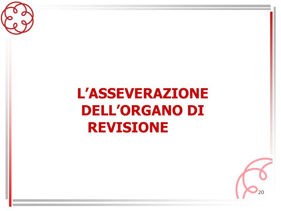 20 LASSEVERAZIONE DELLORGANO DI REVISIONE
