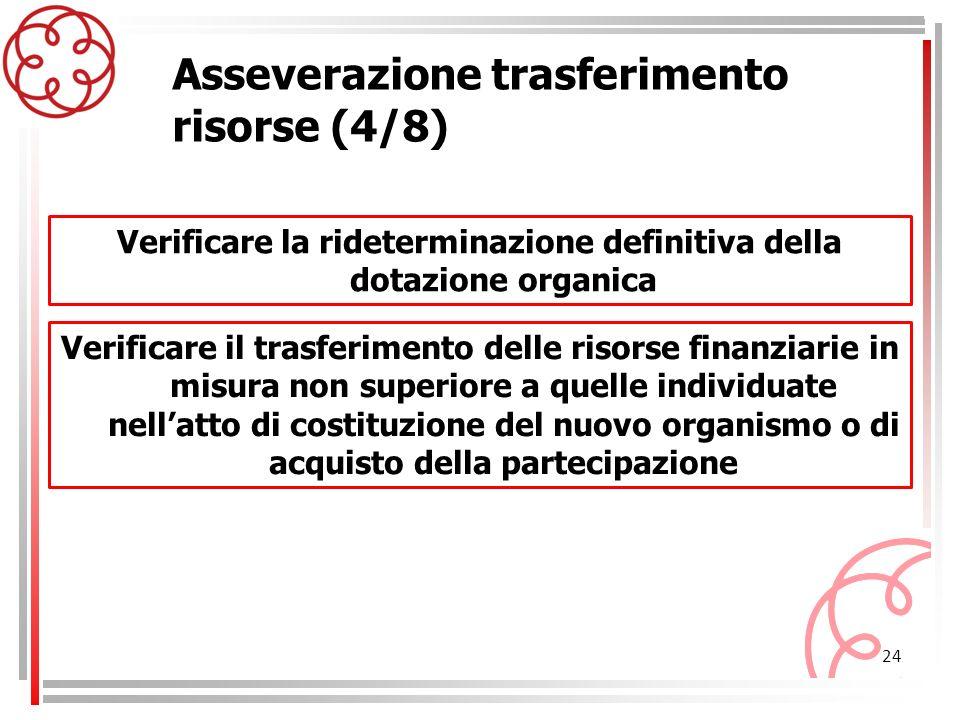 24 Asseverazione trasferimento risorse (4/8) Verificare il trasferimento delle risorse finanziarie in misura non superiore a quelle individuate nellat
