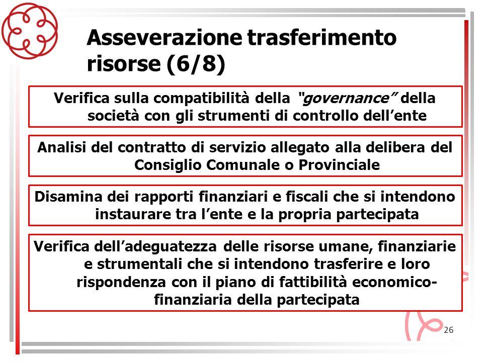 26 Asseverazione trasferimento risorse (6/8) Analisi del contratto di servizio allegato alla delibera del Consiglio Comunale o Provinciale Verifica su