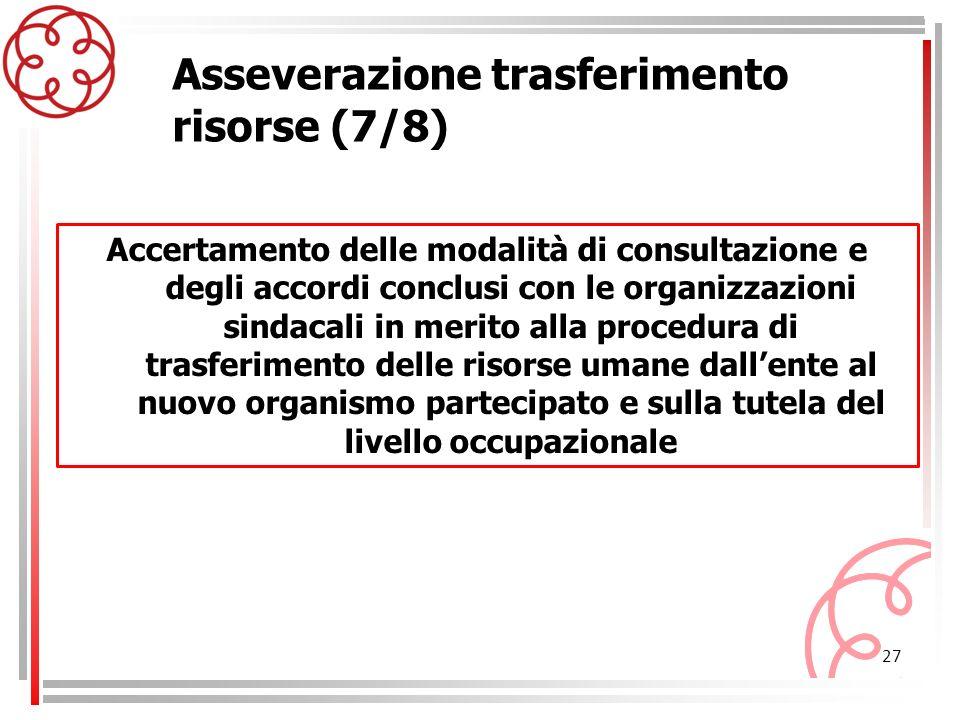 27 Asseverazione trasferimento risorse (7/8) Accertamento delle modalità di consultazione e degli accordi conclusi con le organizzazioni sindacali in