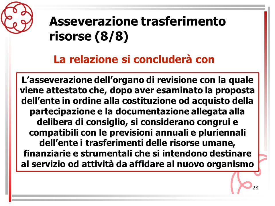 28 Asseverazione trasferimento risorse (8/8) Lasseverazione dellorgano di revisione con la quale viene attestato che, dopo aver esaminato la proposta