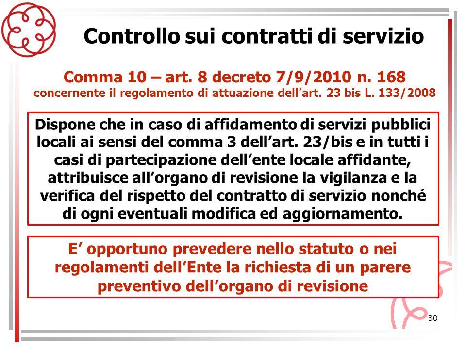 30 Controllo sui contratti di servizio Dispone che in caso di affidamento di servizi pubblici locali ai sensi del comma 3 dellart. 23/bis e in tutti i