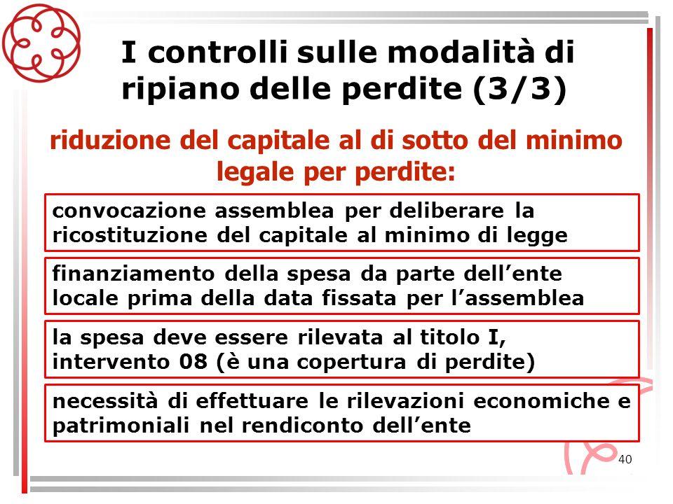 40 I controlli sulle modalità di ripiano delle perdite (3/3) convocazione assemblea per deliberare la ricostituzione del capitale al minimo di legge r