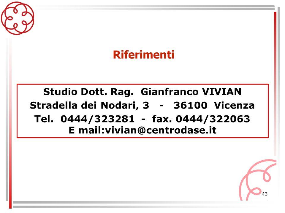 43 Studio Dott. Rag. Gianfranco VIVIAN Stradella dei Nodari, 3 - 36100 Vicenza Tel. 0444/323281 - fax. 0444/322063 E mail:vivian@centrodase.it Riferim