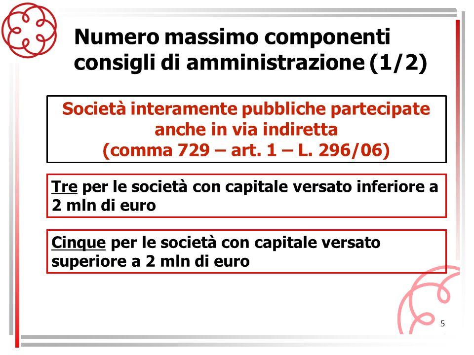 5 Tre per le società con capitale versato inferiore a 2 mln di euro Società interamente pubbliche partecipate anche in via indiretta (comma 729 – art.