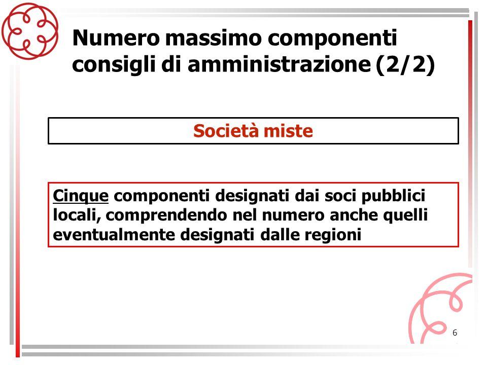 6 Società miste Numero massimo componenti consigli di amministrazione (2/2) Cinque componenti designati dai soci pubblici locali, comprendendo nel num