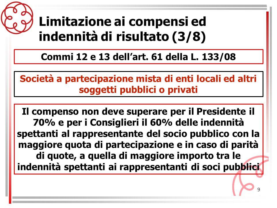9 Commi 12 e 13 dellart. 61 della L. 133/08 Limitazione ai compensi ed indennità di risultato (3/8) Il compenso non deve superare per il Presidente il